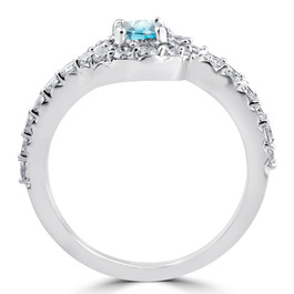 1 1/2ct Blue Diamond Engagement Halo Curve Ring Set 10K White Gold (I/J, I2-I3)
