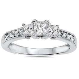 1/3ct Three Stone Princess Cut Diamond Engagement Ring 14K White Gold (H, SI2)