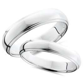 Platinum Matching His Hers Polished Wedding Bands Set