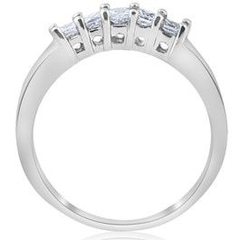 1/2ct Princess Cut Diamond Curved Wedding Ring Enhancer 14K White Gold (G/H, I1-I2)