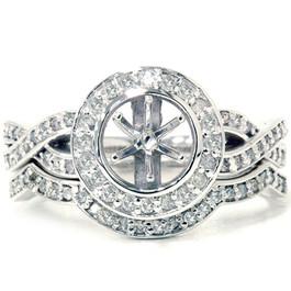 5/8ct Halo Diamond Engagement Ring Set 14k White Gold (G/H, I2-I3)