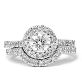1 1/2 Carat Enhanced Diamond Halo Engagement Wedding Ring Set Matching Band 14k (H-I, I1)