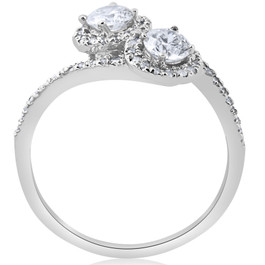 1cttw Two Stone Diamond Engagement Halo Anniversary Ring 14k White Gold Round (H/I, I1-I2)