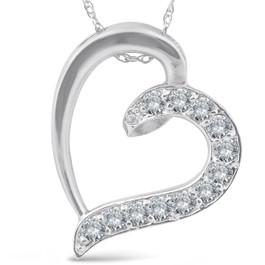 1/2ct Diamond Heart Pendant 10K White Gold (G/H, I1)
