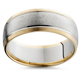 Mens Gold 8mm Two Tone Comfort Fit Wedding Band Ring