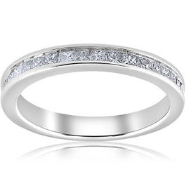 1/2ct Diamond Princess Cut Channel Set Wedding Ring 10k White Gold (H/I, I1-I2)