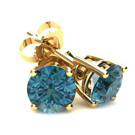 1.00Ct Round Brilliant Cut Heat Treated Blue Diamond Stud Earrings in 14K Gold Basket Setting (Blue, SI2-I1)