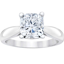 1 1/2ct Cushion Diamond Solitaire Engagement Ring 14k White Gold Enhanced (E, VS1-VS2)