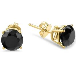 3 TCW 14k Yellow Gold Round Black Diamond Stud Earrings (Black, AAA)