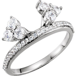 1/3CT Diamond Ring Wrap Style Wedding Ring 14K White Gold (I/J, I1-I2)