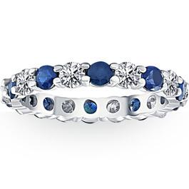 3ct Blue Sapphire & Diamond Eternity Ring 14K White Gold (G/H, I1)