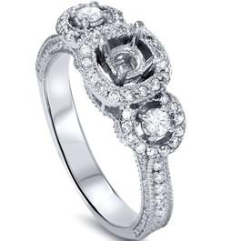 1/2ct Vintage Diamond Engagement Hand Engraved 3 Stone Mounting 14K White Gold (G/H, I2)