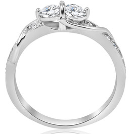 5/8ct Diamond Two Stone Forever Us Crossover Engagement 10k White Gold Ring (G/H, I1-I2)