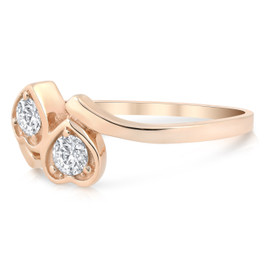 1/3ct Diamond Solitaire Two Stone Forever Us Heart Shape 14k Rose Gold Ring (G/H, I1-I2)
