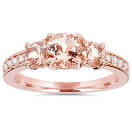 1 1/2CT Morganite & Diamond 3-Stone Engagement Ring 14K Rose Gold (G-H, I1-I2)