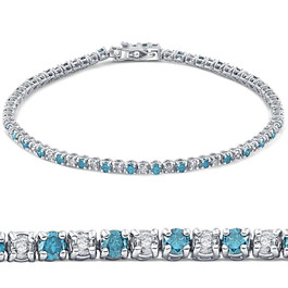 "3ct Blue & White Diamond Tennis Bracelet 14K White Gold 7"" (G/H, I2)"