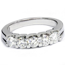 1ct Lab Created Diamond 5-Stone Wedding Womens White Gold 14K Ring (F, VS)