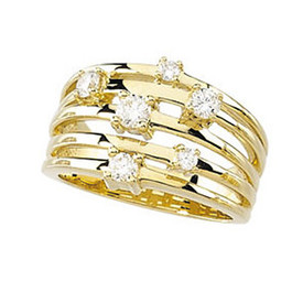 3/4ct Diamond Multi Row Wide Right Hand Ring 10k White or Yellow Gold ((G-H), SI(1)-SI(2))