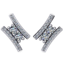"3/8Ct Forever Us 2 Stone Diamond Studs Women's Earrings 14K White Gold 1/2"" tall (G/H, I1)"
