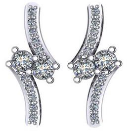""".60Ct Forever Us 2 Stone Diamond Studs Women's Earrings 14K White Gold 3/4"""" tall (G/H, I1)"""