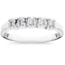 1/4ct 5 Stone Diamond Wedding Ring 14K White Gold (G/H, SI1)