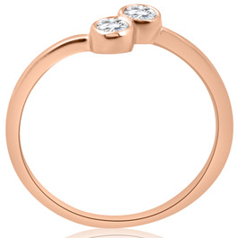 1/4CT Two Stone Diamond Solitaire Bezel Engagement Promise Ring 14k Rose Gold (H/I, I1-I2)