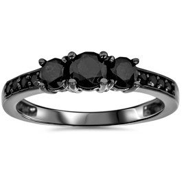 1 1/5ct Heat Treated Black Diamond 3 Stone Ring 10K Black Gold (Black, I3)