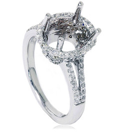 VS 1/2ct Pave Halo Oval Engagement Split Shank Ring Setting 14K White Gold (G/H, VS1-VS2)