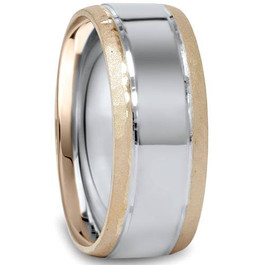 8mm Hammered Two Tone Mens 14K Gold Wedding Band