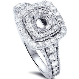 1ct Double Cushion Halo Diamond Engagement Setting 14K White Gold (G/H, SI1-SI2)