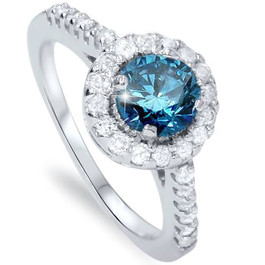 1 1/2ct Blue & White Diamond Halo Engagement Round 14K White Gold (G/H, I1)
