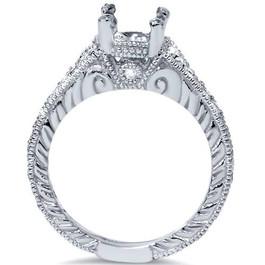 1/4ct Vintage Engagement Ring Setting 14K White Gold Mounting (G/H, I1)
