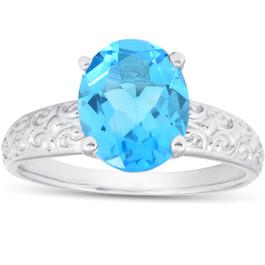 2ct Oval Blue Topaz Vintage Engagement Ring 10K White Gold