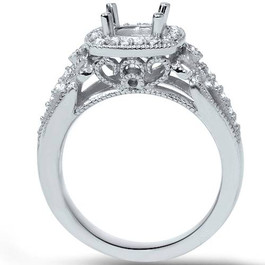 1/4ct Cushion Halo Diamond Engagement Ring Setting 950 Platinum (G/H, SI1-SI2)