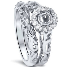 1/10ct Round Diamond Halo Vintage Engagement Ring Mount Set 950 Platinum (G/H, SI1-SI2)