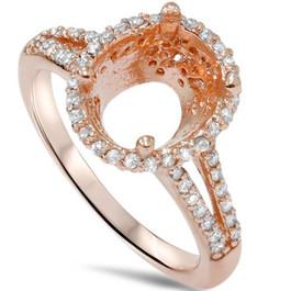 1/2ct Rose Gold Split Shank Halo Diamond Ring Setting 14K (G/H, SI2-I1)