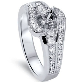 1/3ct Diamond Engagement Setting 14K White Gold (G/H, SI1-SI2)