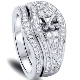 1/2ct Diamond Engagement Mount Set 14K White Gold (G/H, I1)