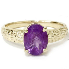 2ct Oval Amethyst Vintage Ring 14K Yellow Gold