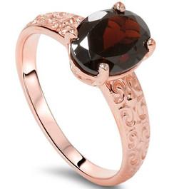 2ct Oval Garnet Vintage Engagement Ring 10K Rose Gold