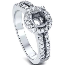 1/2ct Halo Double Row Engagement Ring Setting 14K White Gold (G/H, I1-I2)