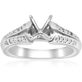 Pave Diamond Semi Mount Split Shank Engagement Ring 14K (G/H, I2)