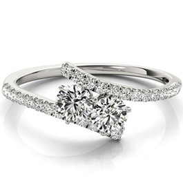 1 1/4 ct Two Stone Diamond Forever Us Engagement Ring Solitaire 14k White Gold (H/I, I1-I2)
