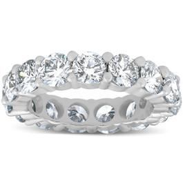 5 Carat Lab Created Diamond Eternity Ring Womens Wedding Band 14K White Gold (F, VS(1)-VS(2))