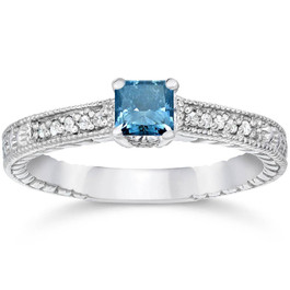1/2ct Princess Cut Antique Blue Diamond Engagement Ring White Gold (G/H, I2)