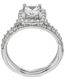 2 ct Princess Cut Halo Diamond Engagement Ring Wedding Set 14k White Gold ((G-H), SI(1)-SI(2))