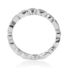 Deco 3/4Ct Diamond Eternity Anniversary Stackable Wedding Ring 14K White Gold (H/I, I1-I2)