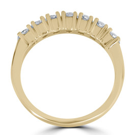 1ct Diamond Wedding Ring Anniversary 14k Yellow Gold 7-Stone Womens Band (G/H, I1)