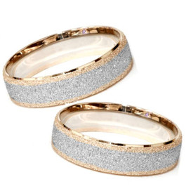 Matching His & Hers 14K Rose & White Gold Wedding Bands