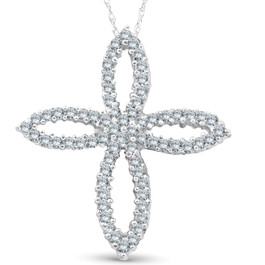 1ct 14K White Gold Fancy Diamond Cross Necklace (G/H, I1)